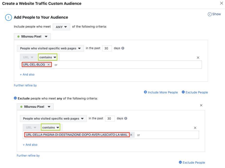creare un pubblico personalizzato per la propria Facebook Ads - step 3