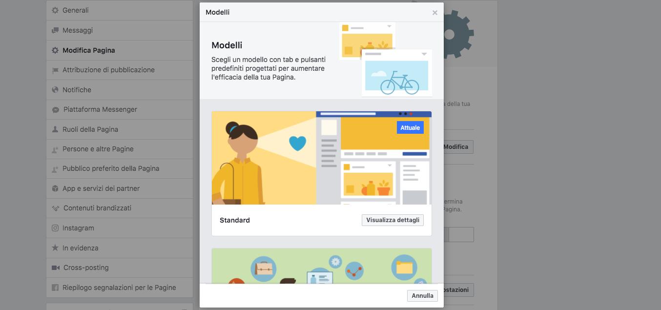 immagine copertina facebook: Scegli il modello di pagina più adatto al tuo business