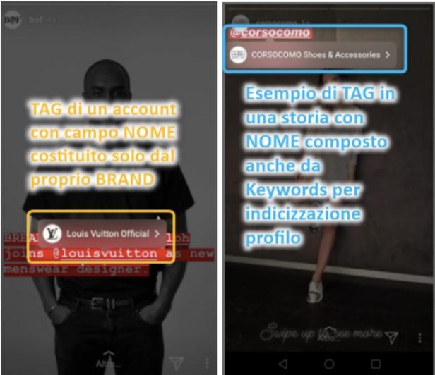 due esempi di nomi utenti Instagram con e senza keyword
